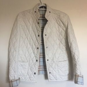 Burberry Women's Quilted White Pearl Jacket.